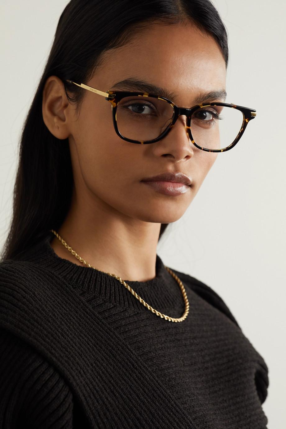 Bottega Veneta Brille mit eckigem Rahmen aus Azetat in Hornoptik mit goldfarbenen Details