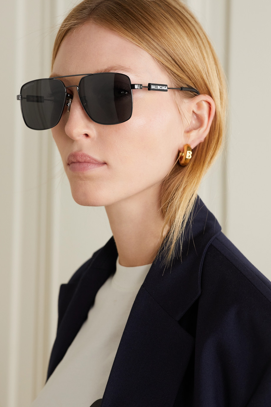 Balenciaga Aviator-style gunmetal-tone and rubber sunglasses