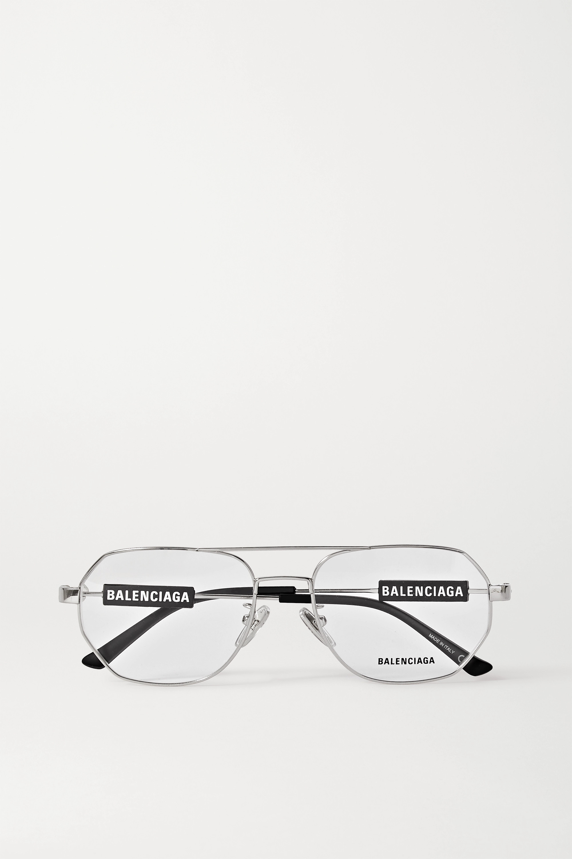 Balenciaga Aviator-style silver-tone optical glasses