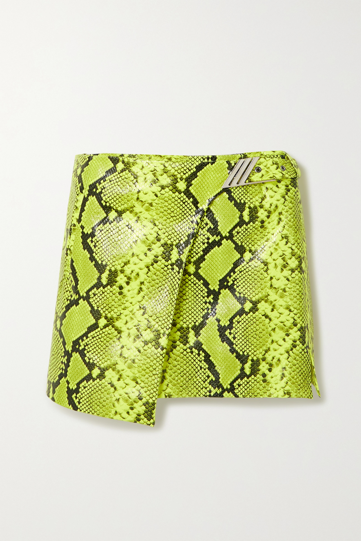 The Attico Neon snake-effect leather wrap mini skirt
