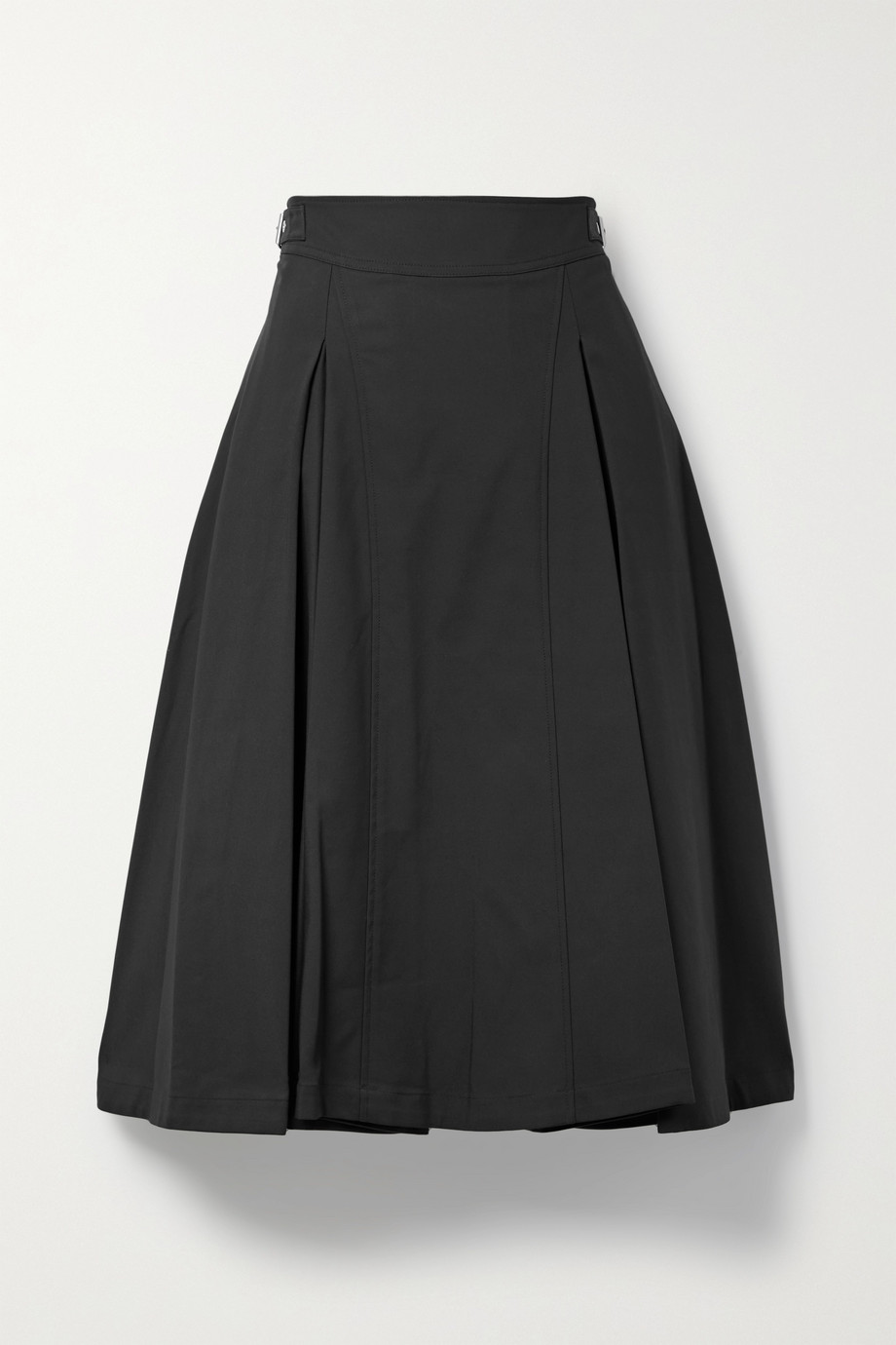 3.1 Phillip Lim 搭扣褶裥棉质混纺中长半身裙