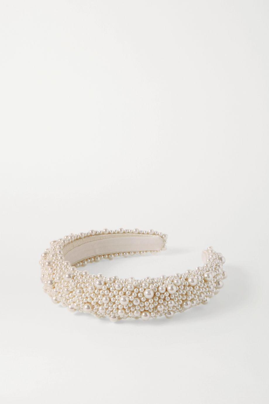 Jennifer Behr Bailey faux pearl-embellished satin headband