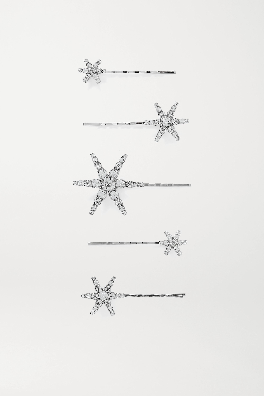 Jennifer Behr Lot de cinq barrettes en métal argenté à cristaux Vespera