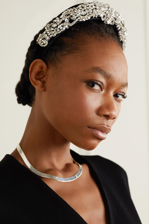 Jennifer Behr Oksanna Haarreif aus Samt mit Kristallen