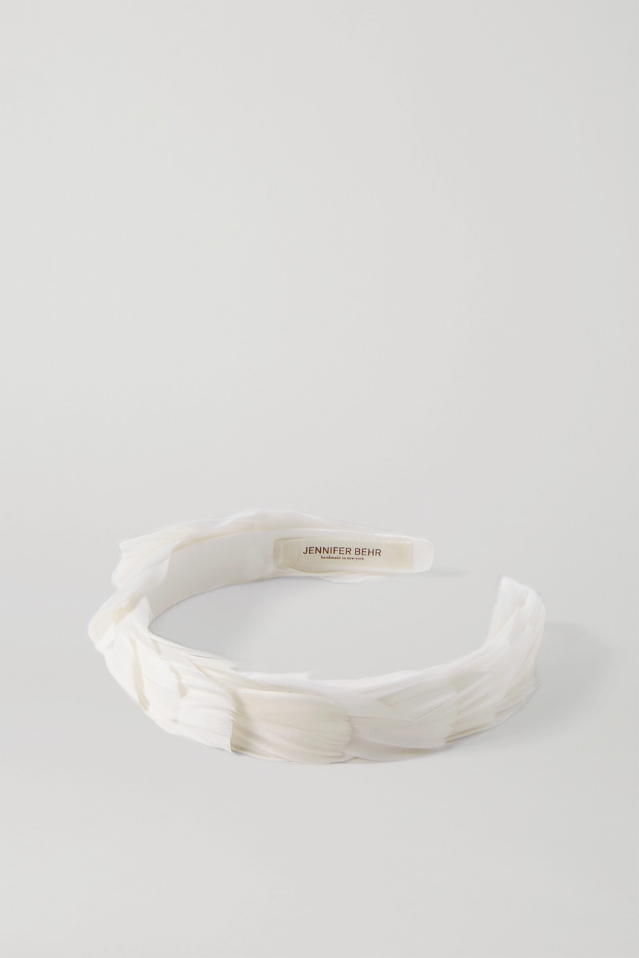 Jennifer Behr Feather-embellished silk headband