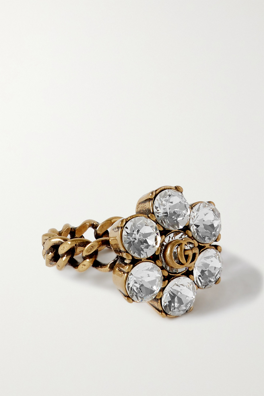 Gucci GG Marmont gold-tone crystal ring
