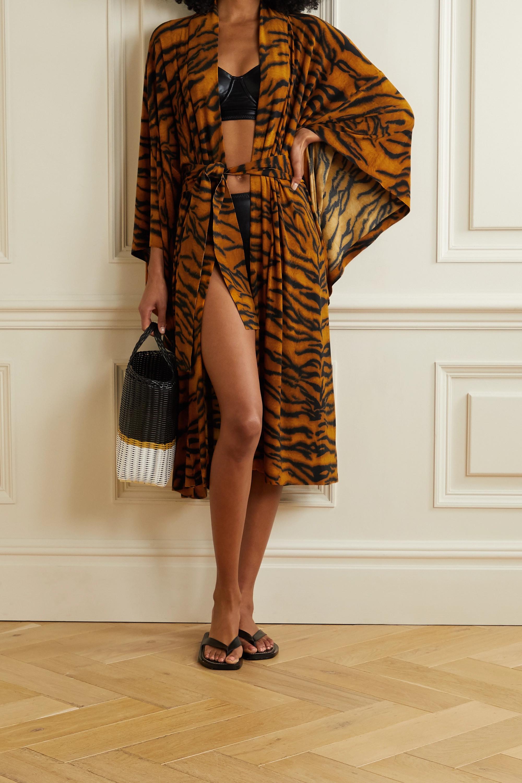 Norma Kamali Belted tiger-print stretch-jersey robe