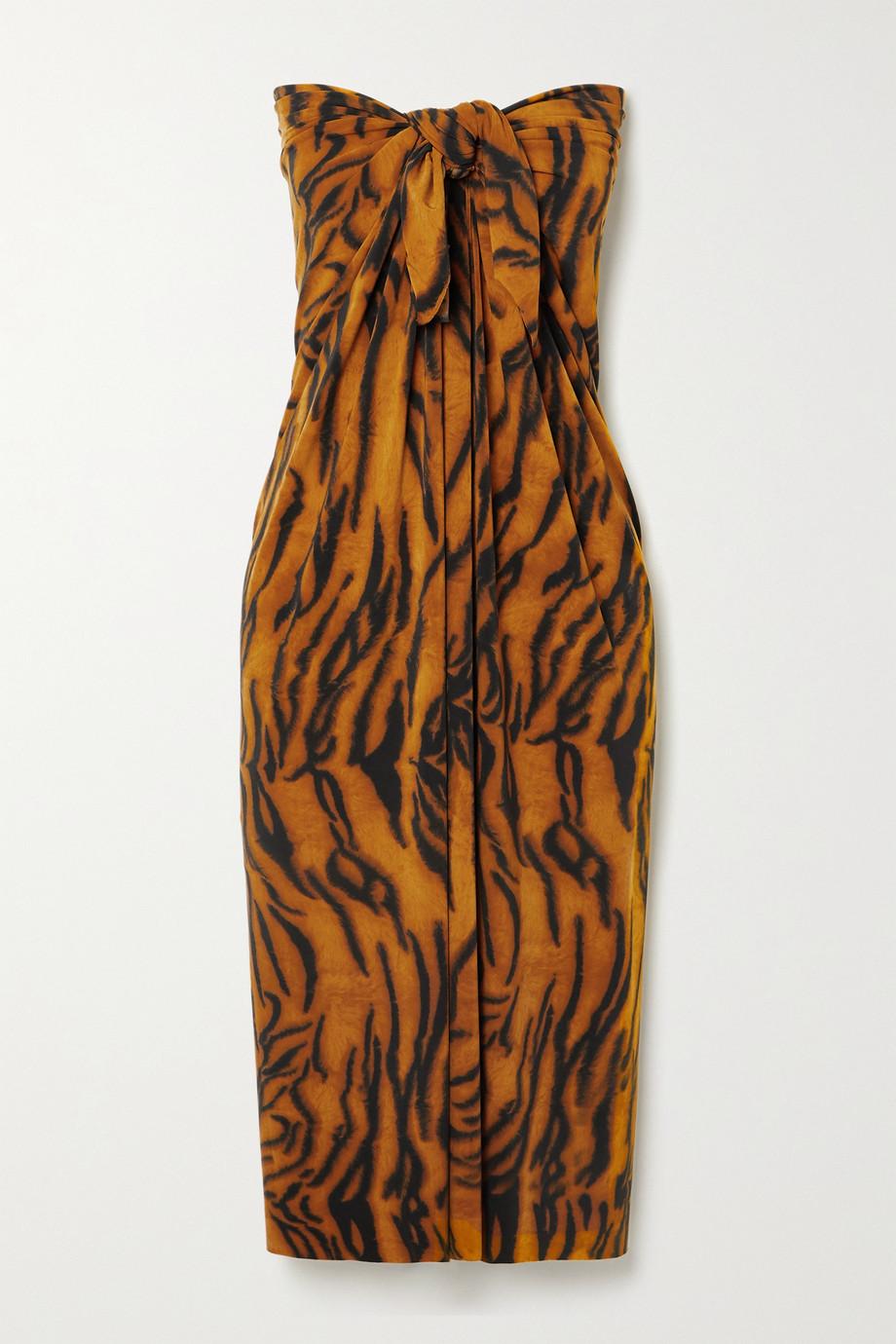 Norma Kamali Ernie tiger-print jersey pareo