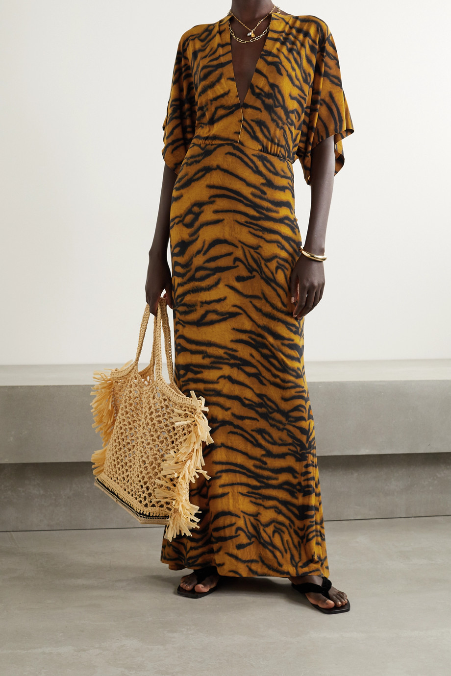 Norma Kamali Obie tiger-print stretch-jersey maxi dress