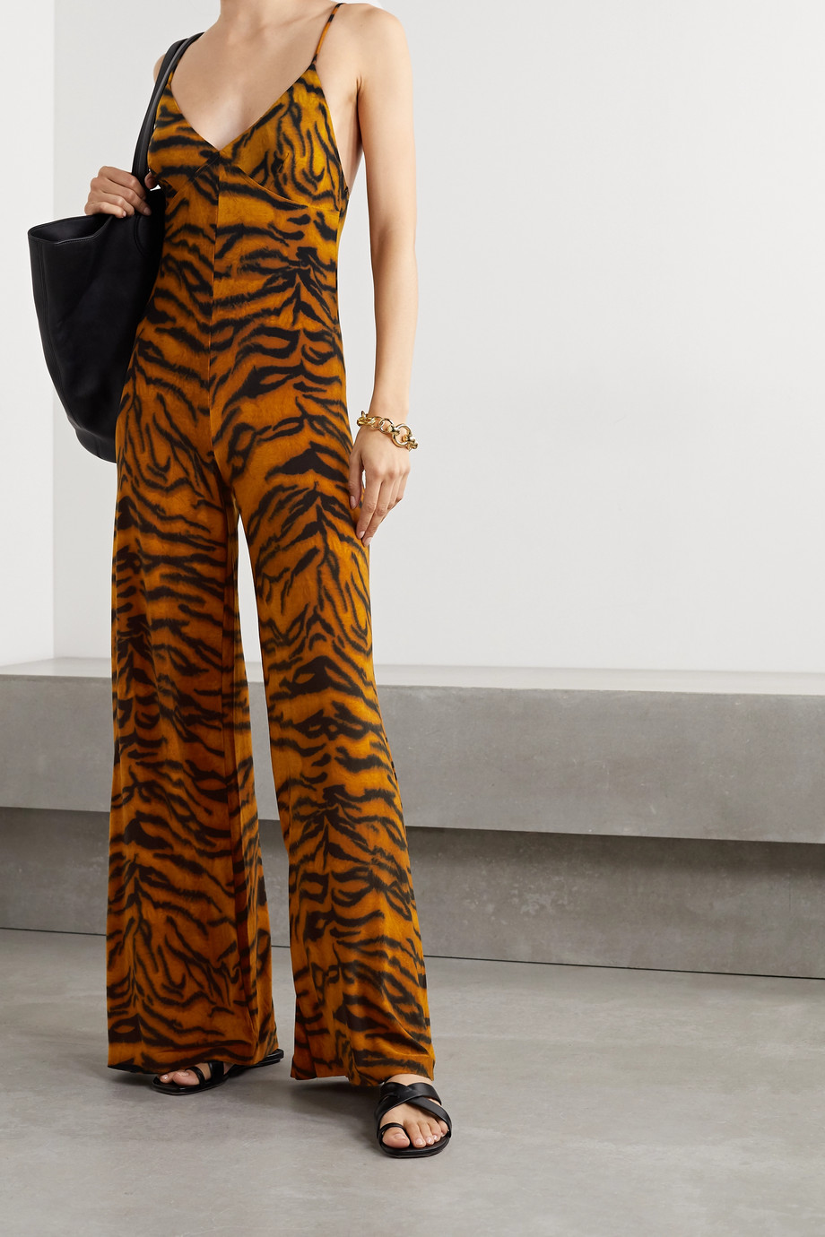 Norma Kamali Jumpsuit aus Stretch-Jersey mit Tigerprint