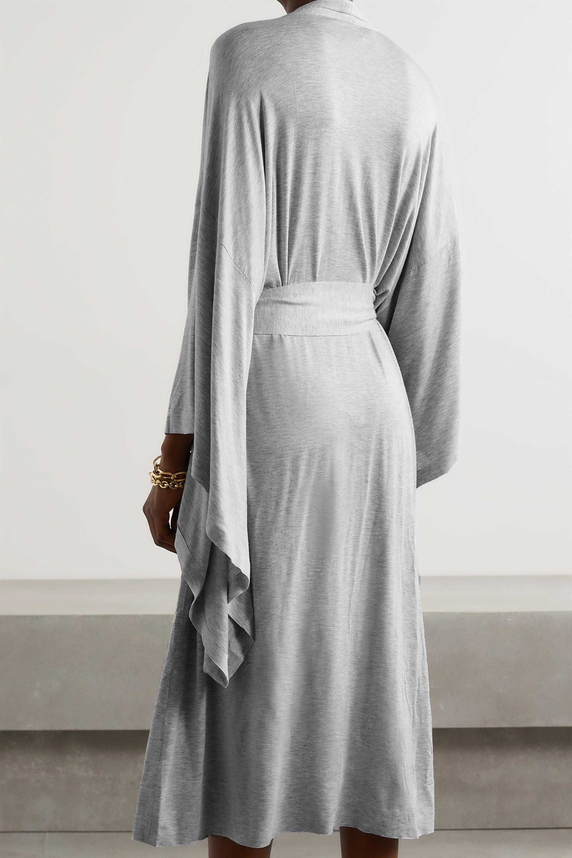Norma Kamali Morgenmantel aus meliertem Stretch-Modal mit Bindegürtel