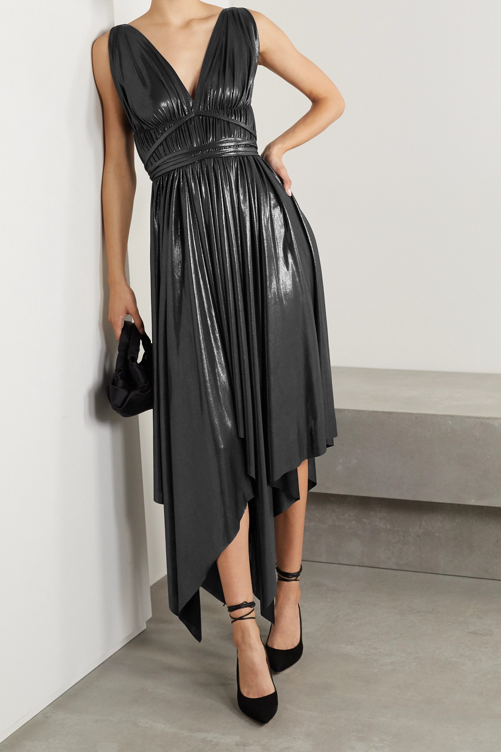 Norma Kamali Goddess asymmetric pleated metallic stretch-jersey dress