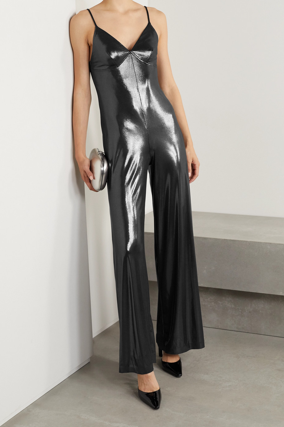 Norma Kamali Jumpsuit aus Stretch-Jersey in Metallic-Optik