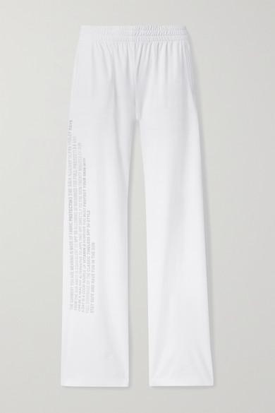 Norma Kamali - Printed Jersey Track Pants - White