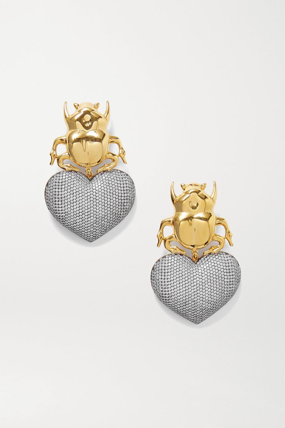 Begüm Khan Beetle My Love vergoldete Ohrclips mit Kristallen