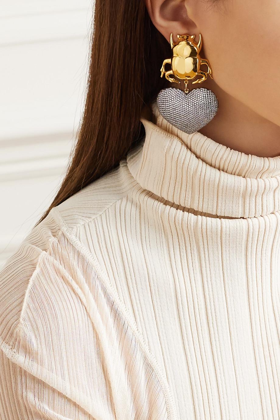 Begüm Khan Beetle My Love gold-plated crystal clip earrings