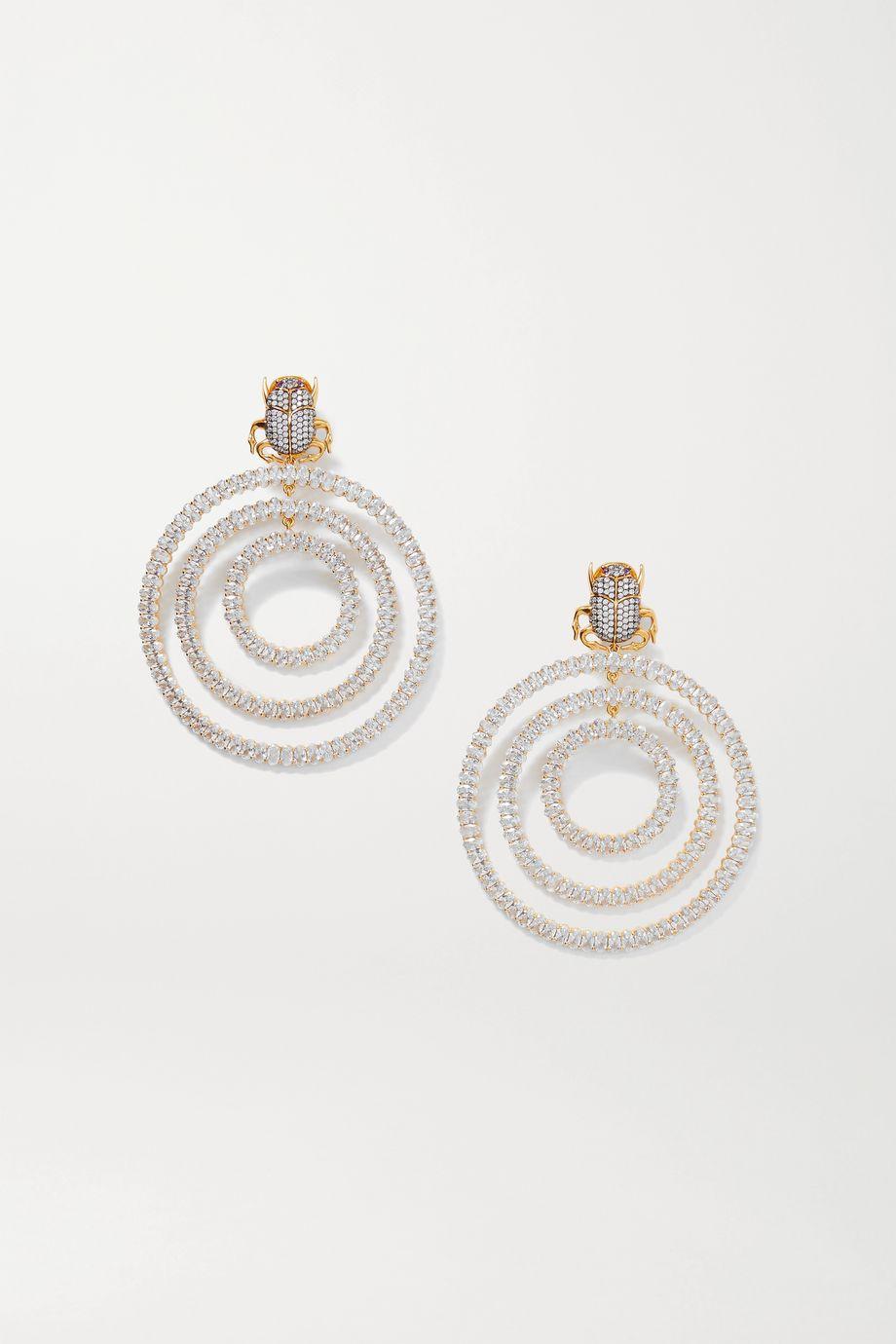 Begüm Khan Scarab Orbit vergoldete Ohrclips mit Kristallen
