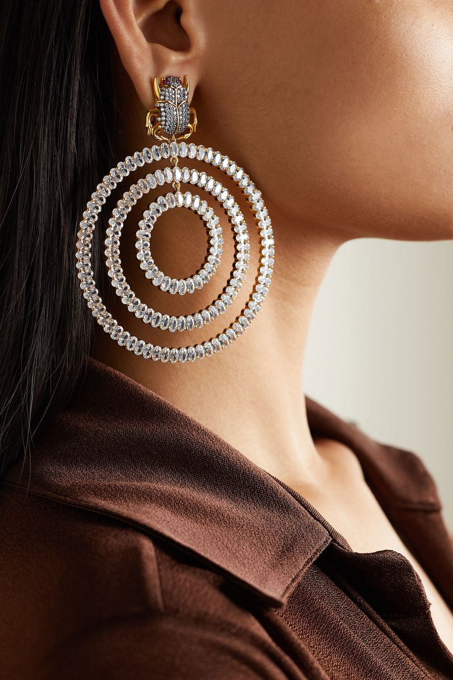 Begüm Khan Scarab Orbit gold-plated crystal clip earrings