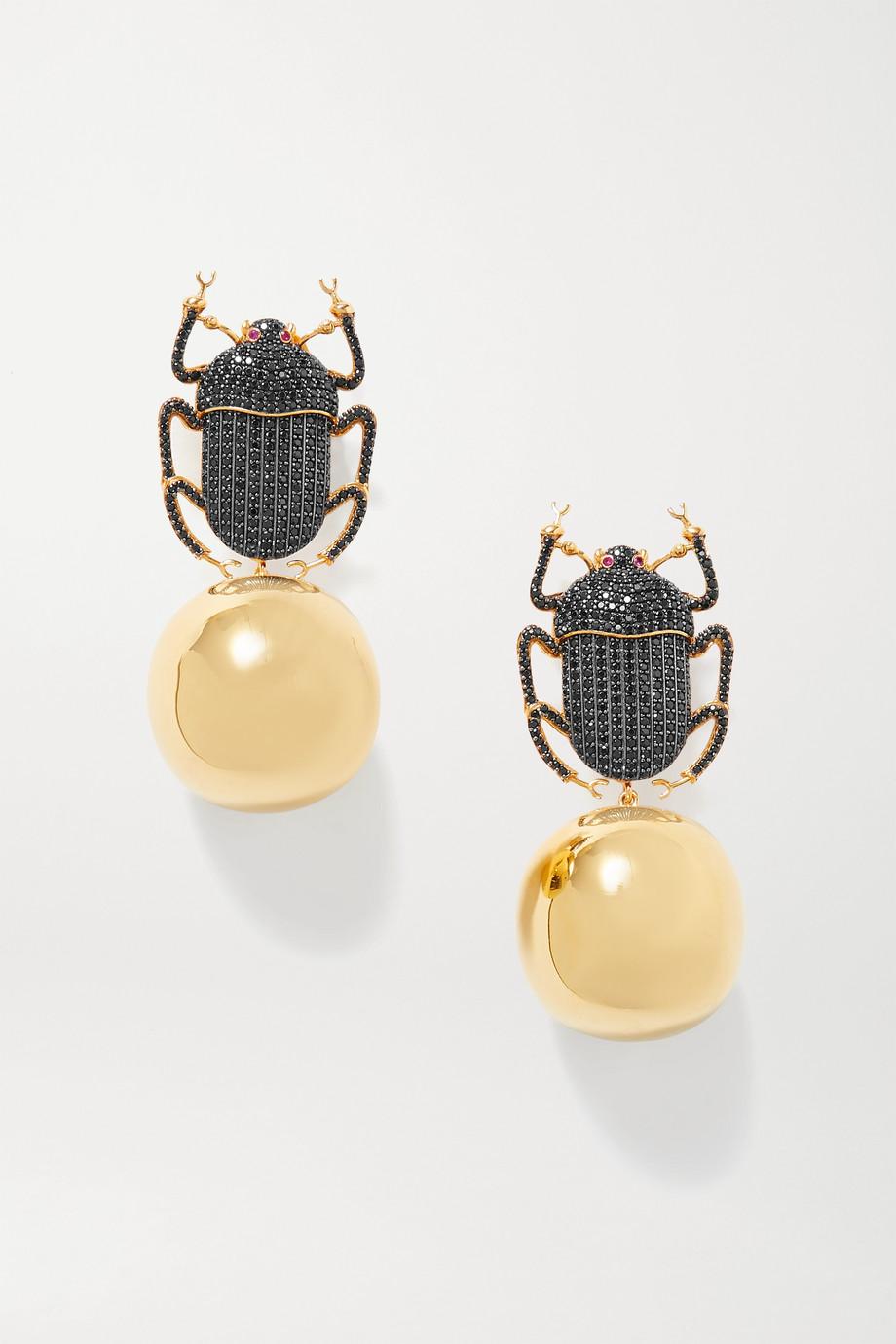 Begüm Khan Pharaoh Party vergoldete Ohrclips mit Kristallen