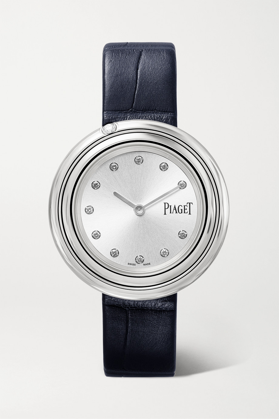 Piaget Montre en acier inoxydable et diamants à bracelet en alligator Possession 34 mm