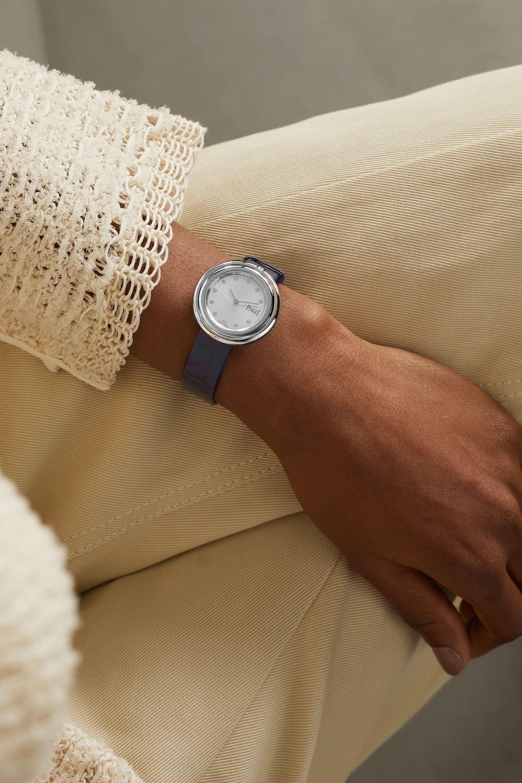 Piaget Montre en acier inoxydable et diamants à bracelet en alligator Possession 34 mm