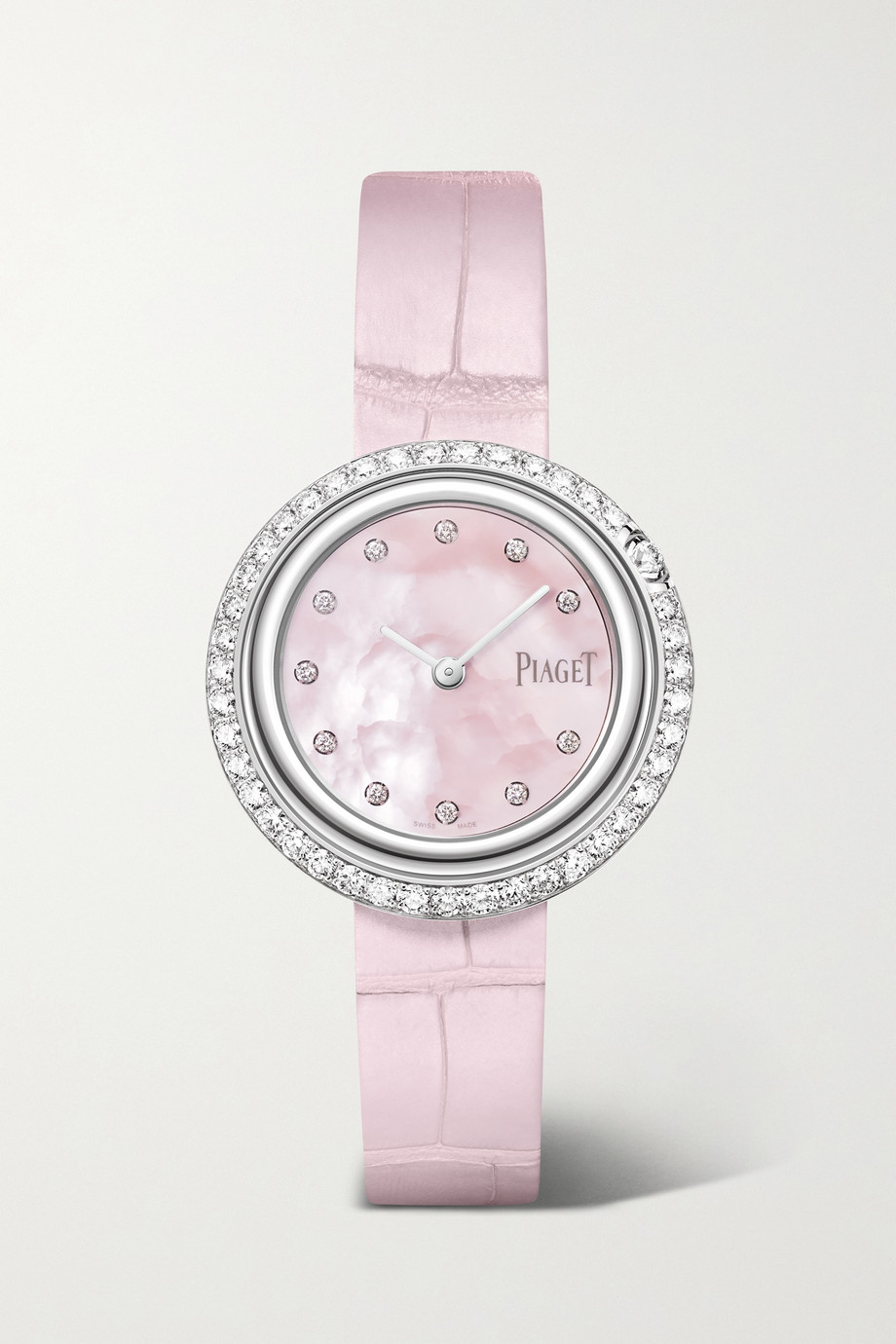 Piaget Montre en or blanc 18 carats et diamants à bracelet en alligator Possession 29 mm