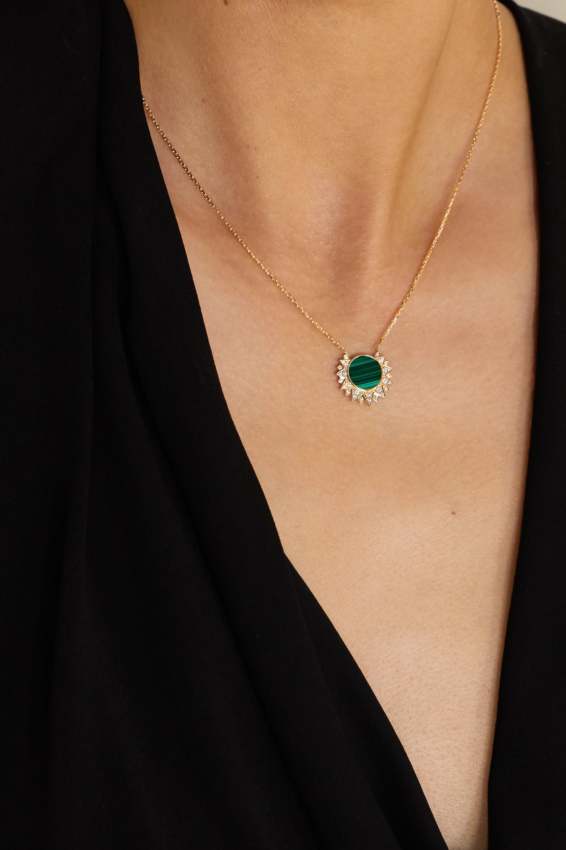 Piaget Collier en or rose 18 carats, malachite et diamants Sunlight