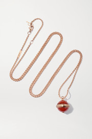 Piaget Possession 18-karat rose gold, carnelian and diamond necklace