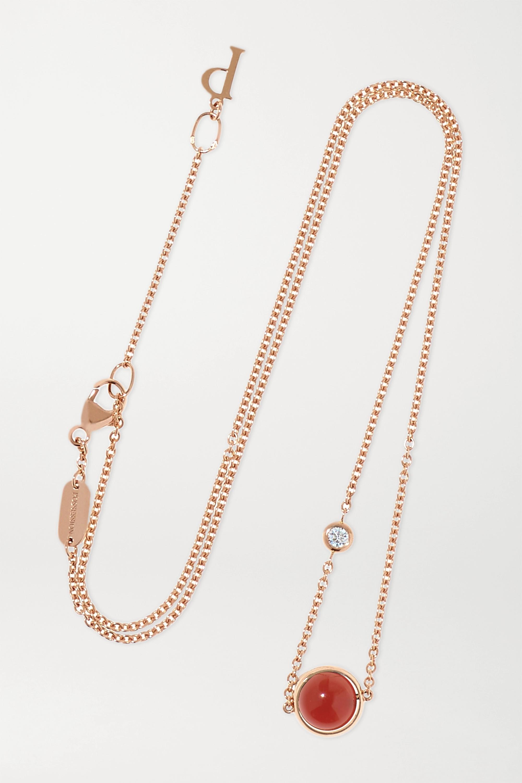 Piaget Collier en or rose 18 carats, cornaline et diamant Possession