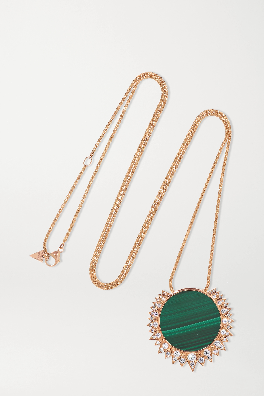 Piaget - Sunlight 18-karat rose gold, malachite and diamond necklace