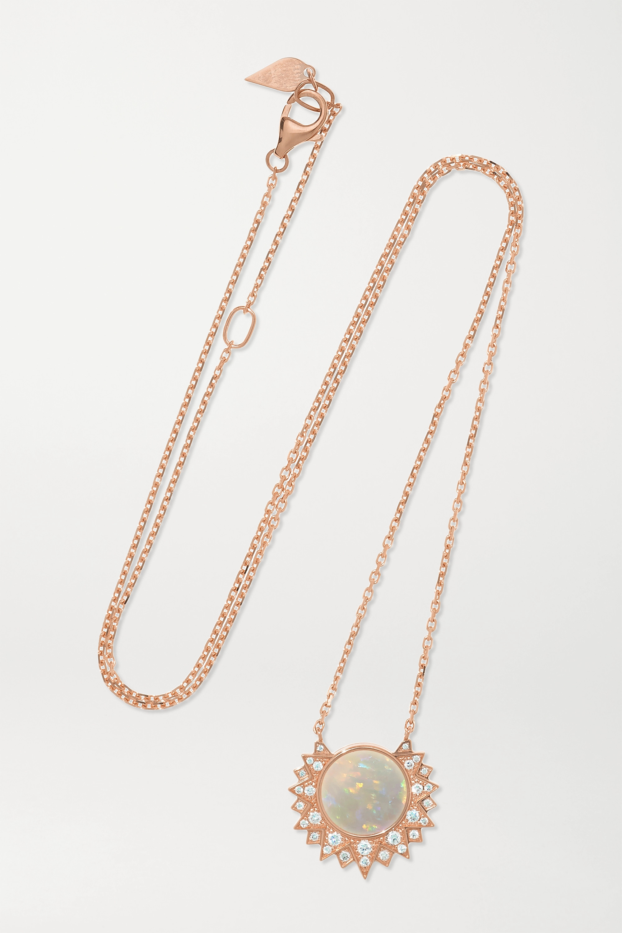 Piaget Collier en or rose 18 carats, opale et diamants Sunlight