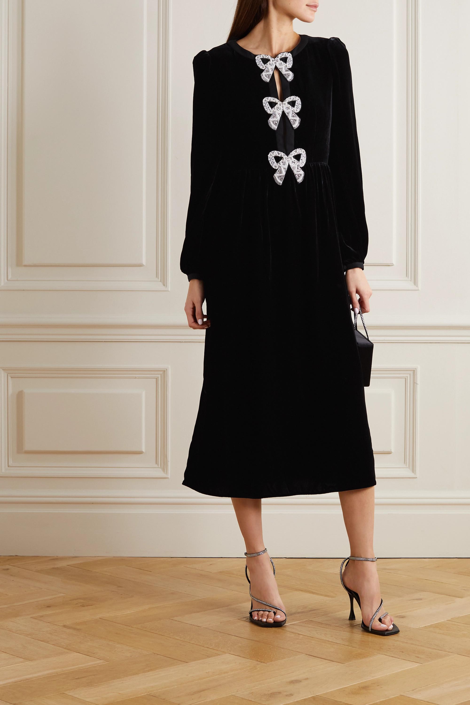 Black Camille Embellished Velvet Midi Dress Saloni Net A Porter