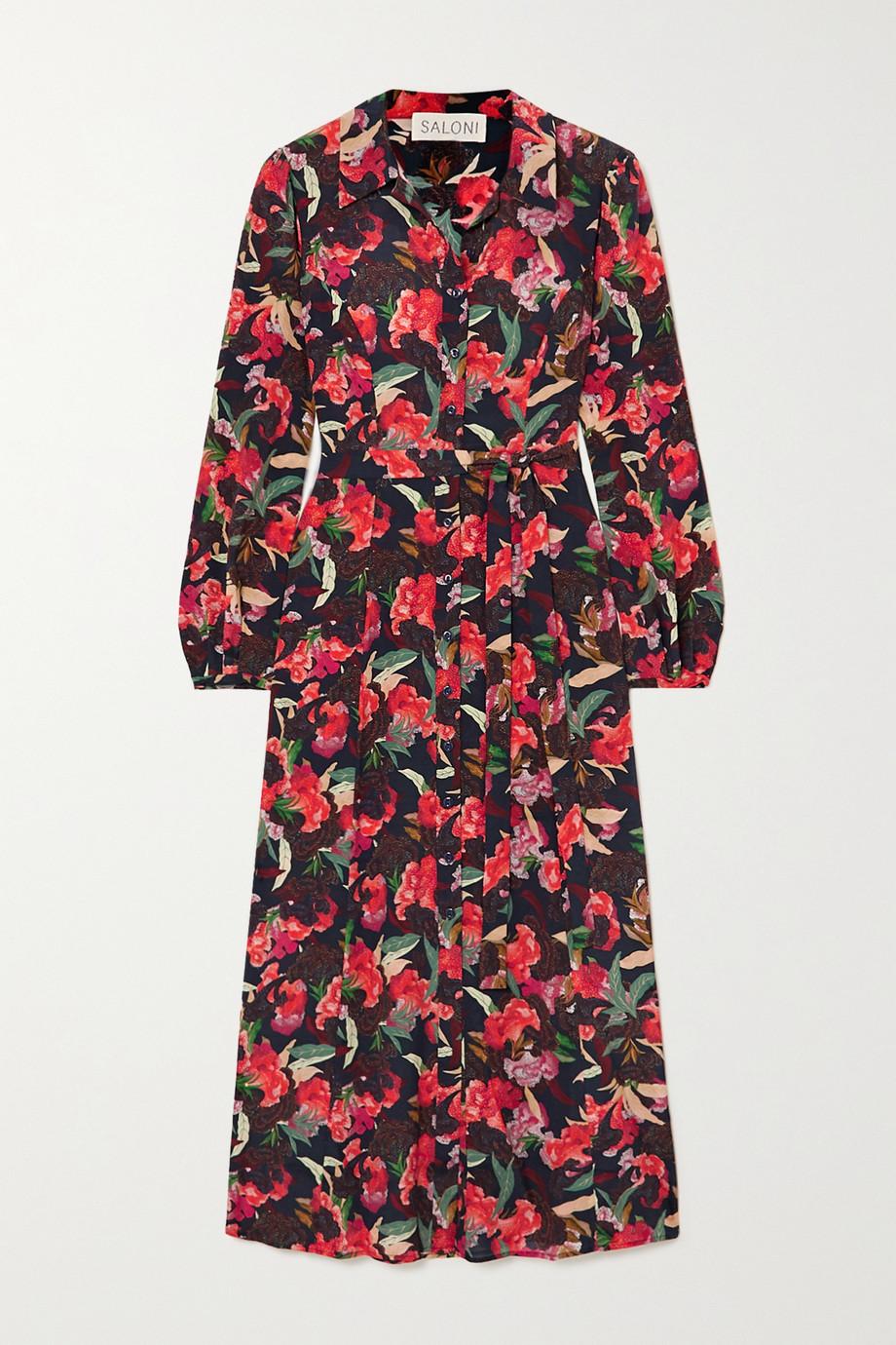 Saloni Vanessa-B floral-print silk crepe de chine shirt dress