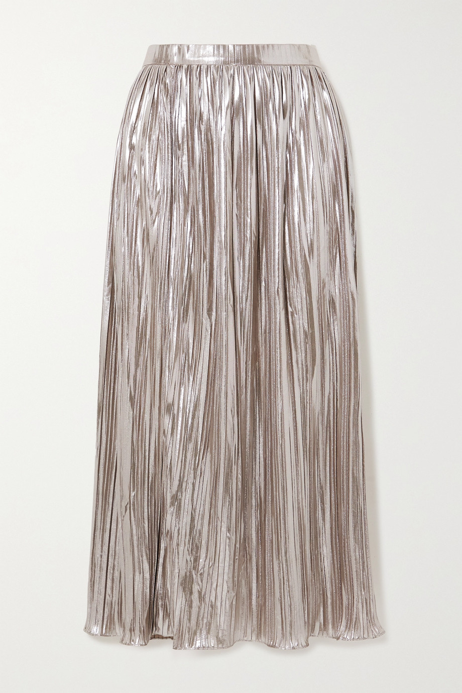 Saloni Camille plissé-lamé midi skirt