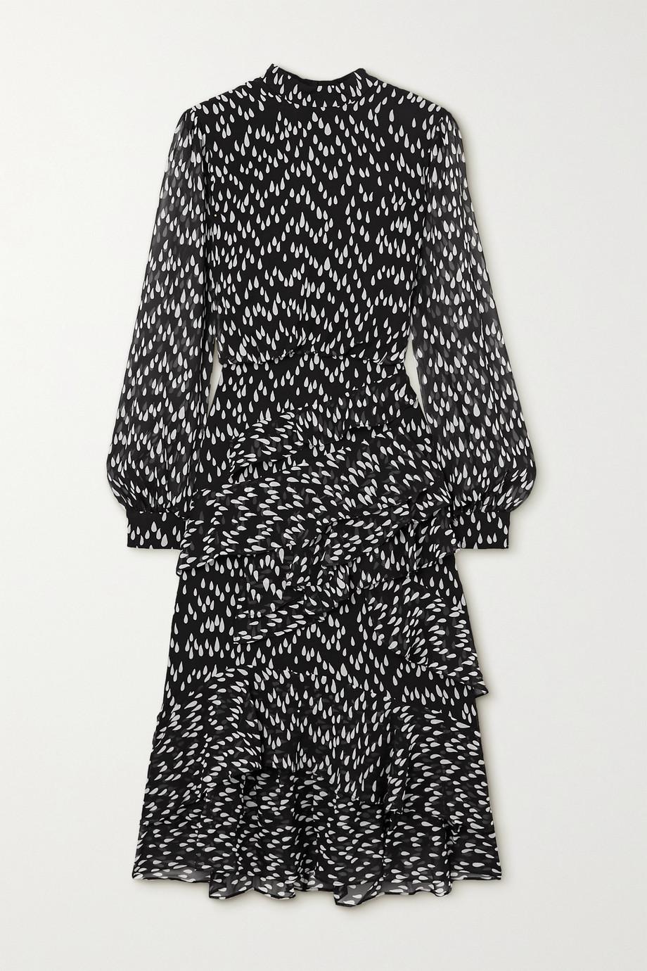Saloni Isa ruffled printed silk-georgette midi dress