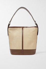 Hunting Season Leather-trimmed woven fique tote