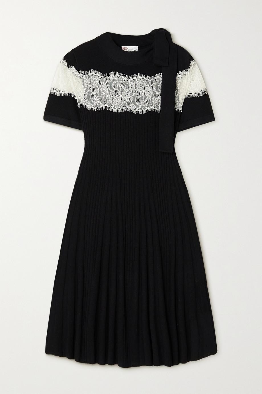 REDValentino Lace-paneled ribbed wool mini dress