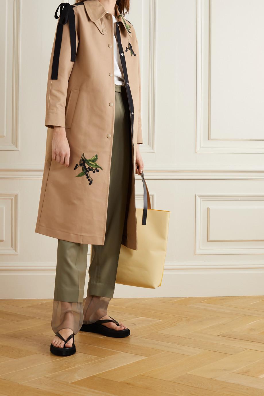 REDValentino Bow-embellished embroidered cotton-gabardine trench coat