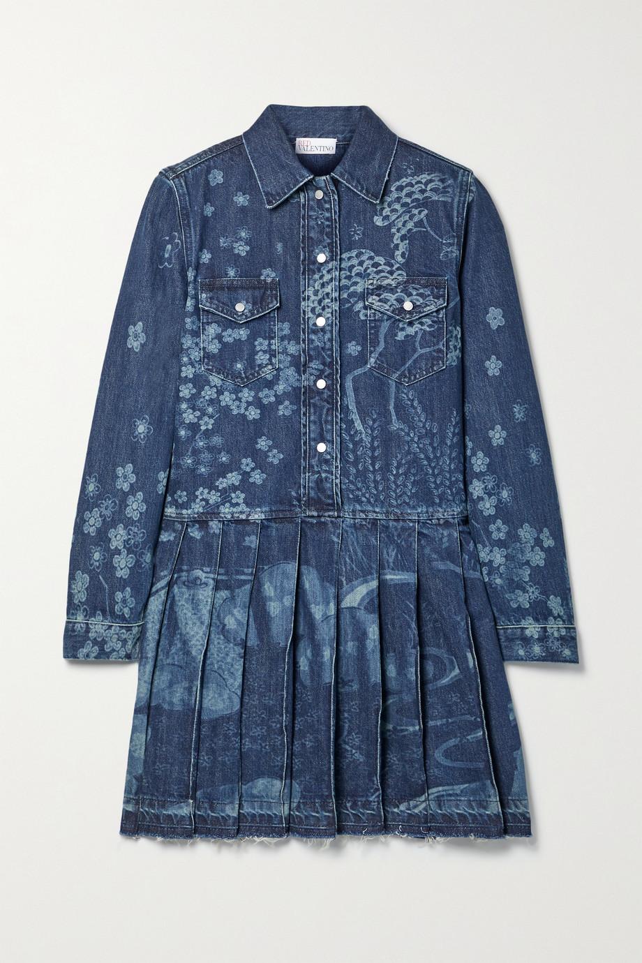 REDValentino Frayed pleated printed denim mini dress