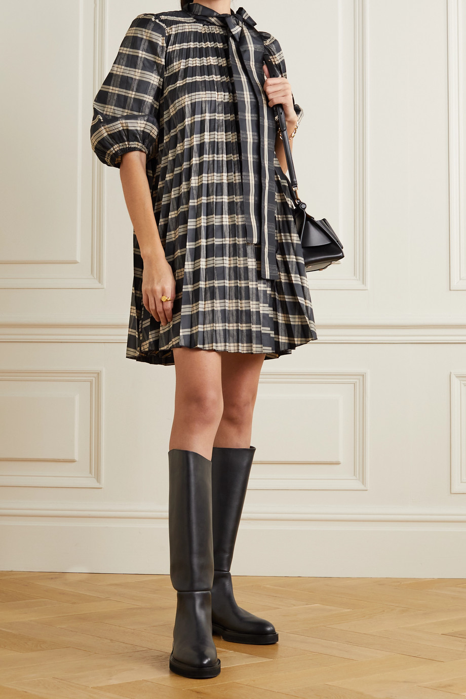 REDValentino Oversized tie-detailed pleated checked poplin and grosgrain mini dress