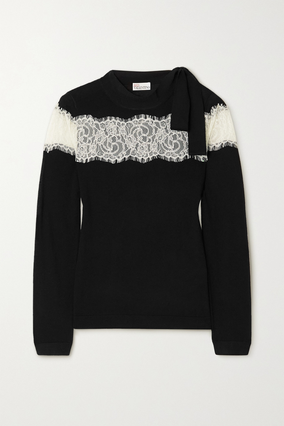 REDValentino Bow-detailed lace-trimmed wool sweater