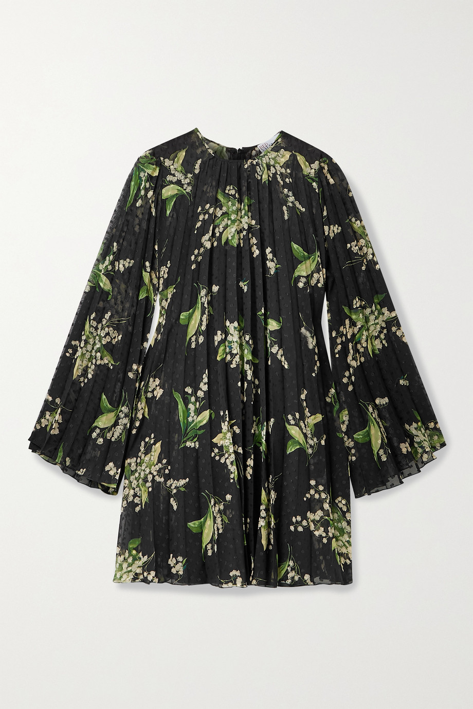REDValentino Pleated floral-print fil coupé chiffon mini dress