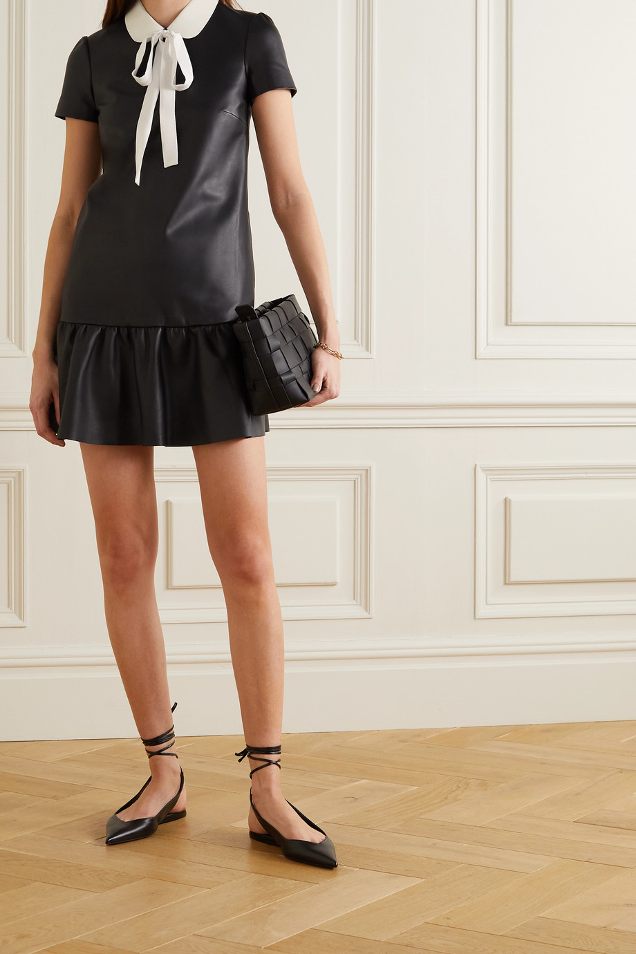 REDValentino Tie-neck tiered leather mini dress