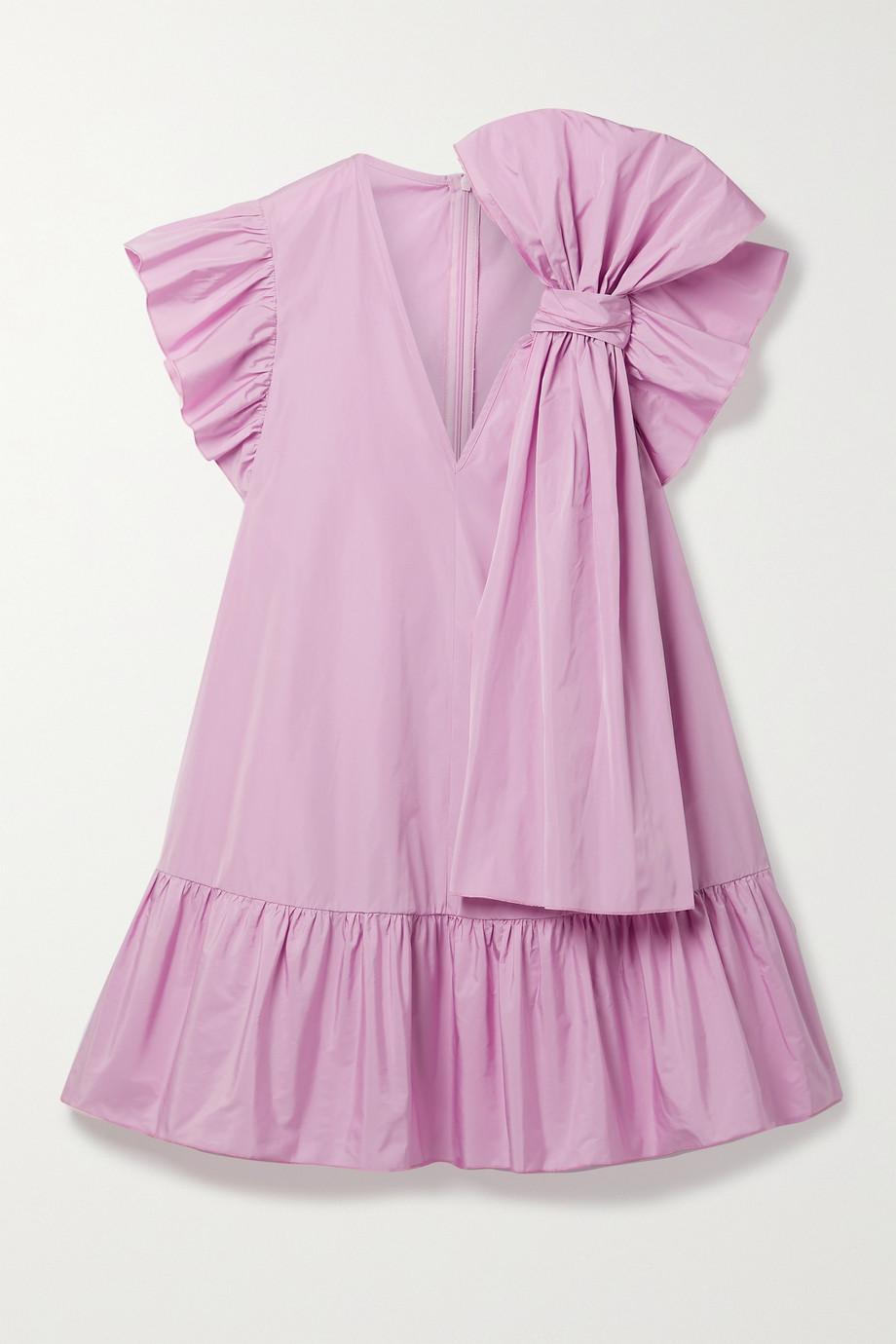 REDValentino Bow-embellished ruffled shell mini dress