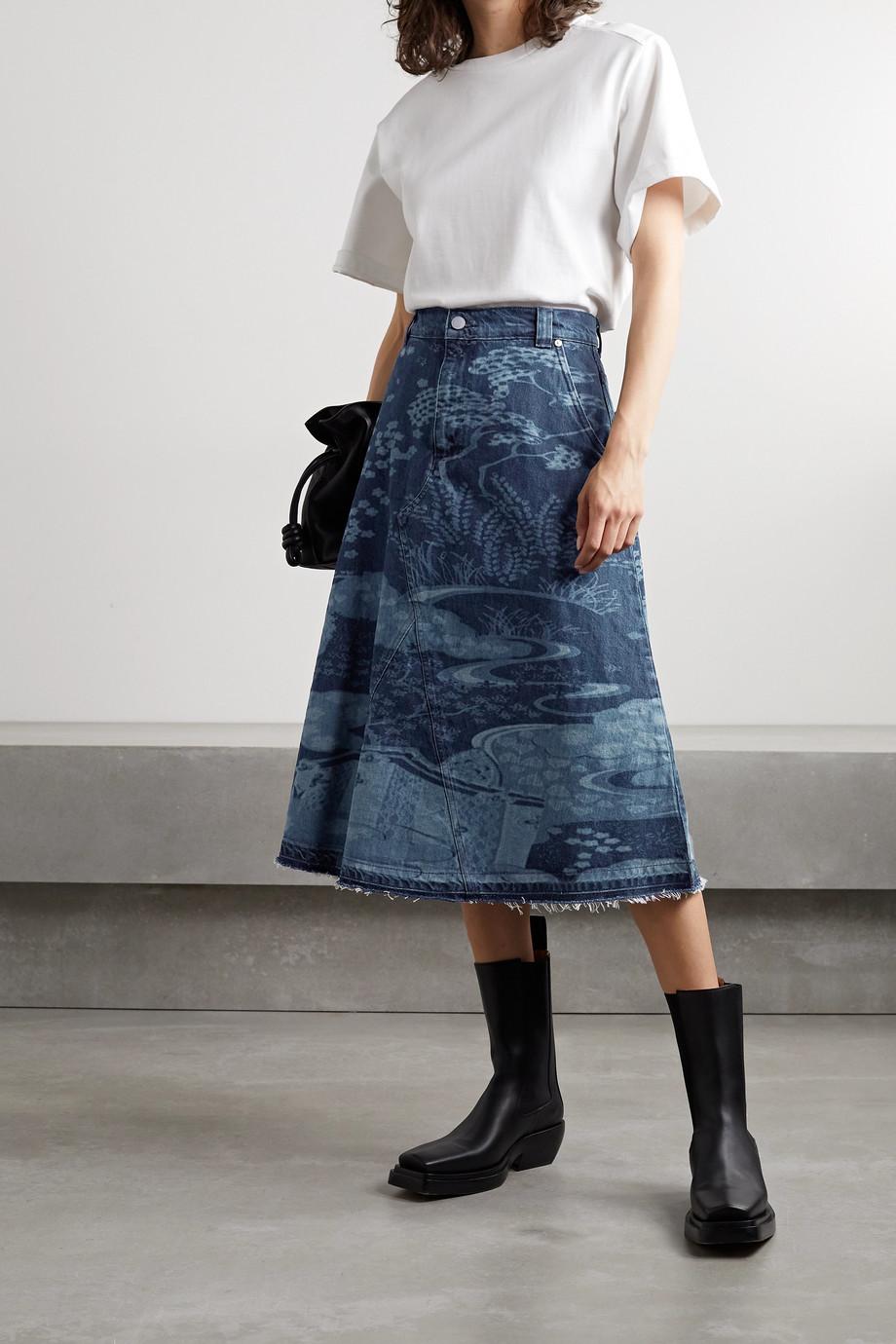 REDValentino Frayed printed denim midi skirt