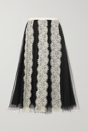 REDValentino Lace-paneled point d'esprit tulle midi skirt
