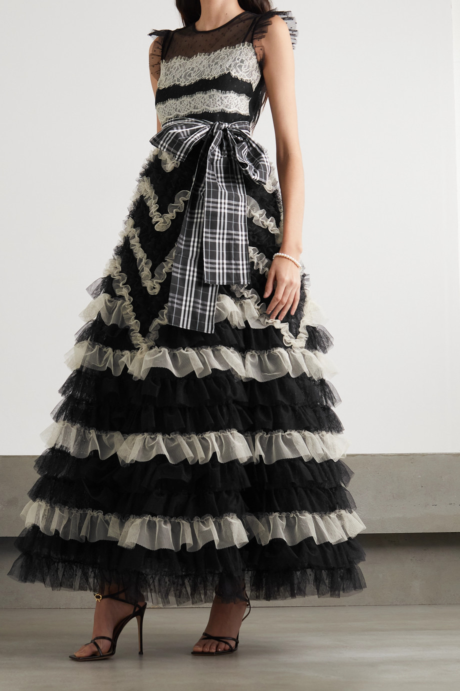 REDValentino Lace-paneled ruffled point d'esprit tulle gown