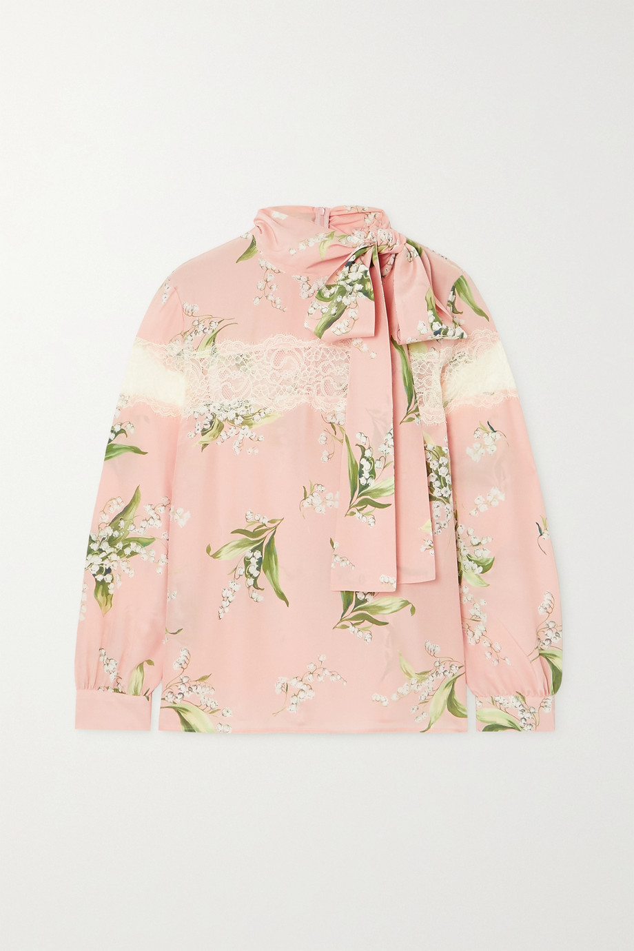 REDValentino Tie-detailed lace-paneled floral-print silk crepe de chine blouse