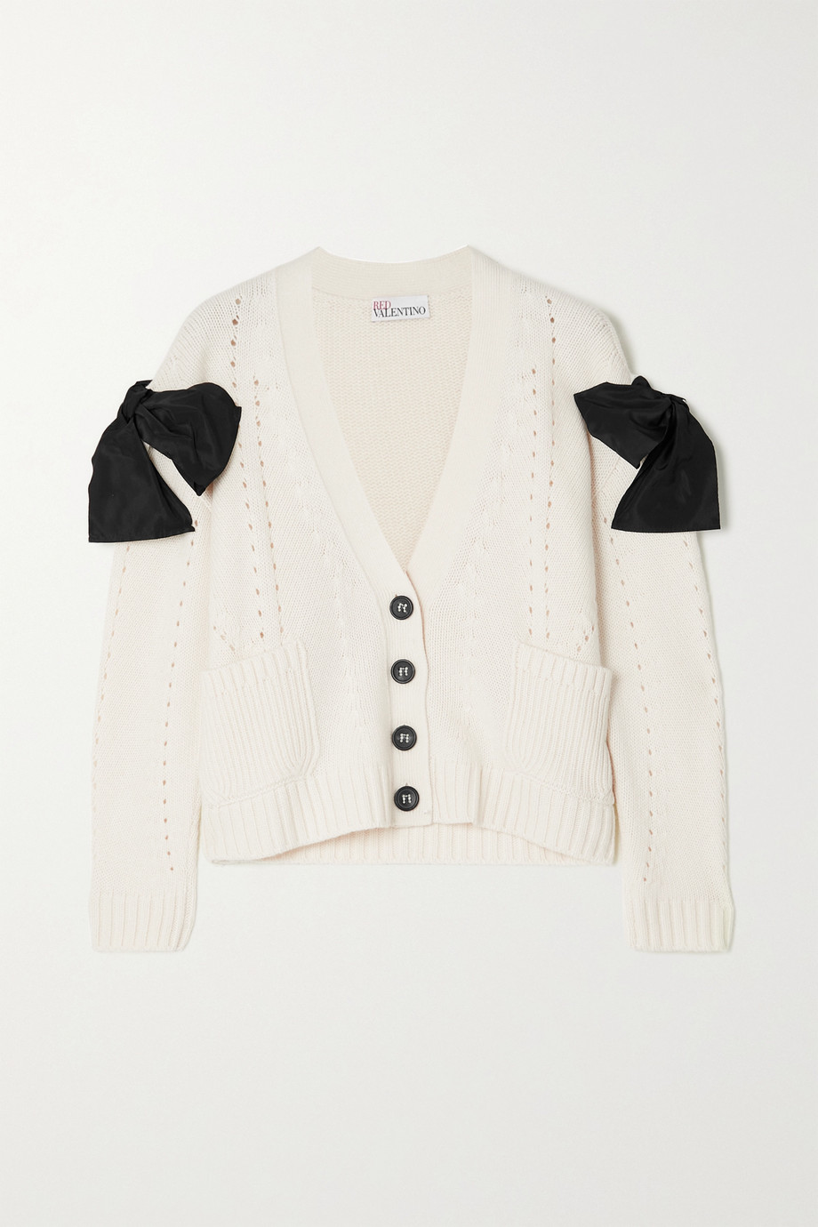 REDValentino Bow-detailed pointelle-knit cardigan