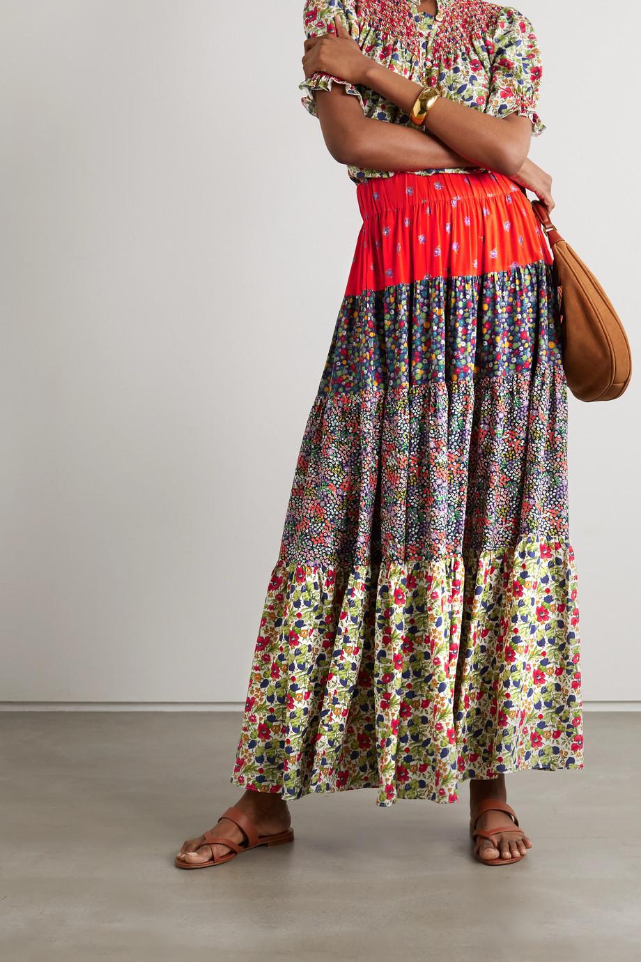 Loretta Caponi Bibi patchwork floral-print poplin midi skirt